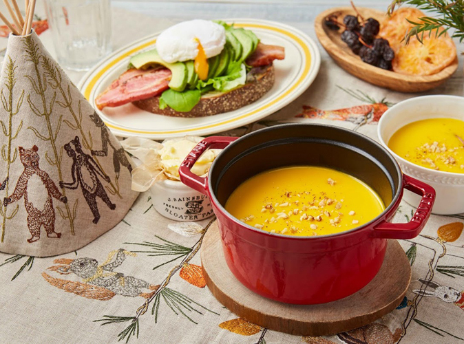 ストウブでかぼちゃスープの朝ごはん